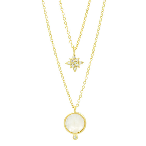 Celestial Double Drop Pendant Necklace