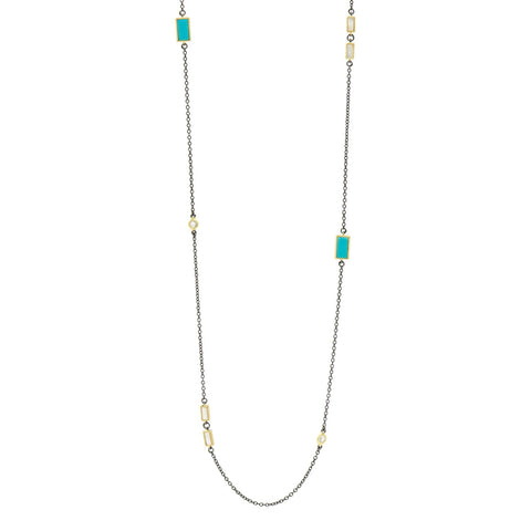 Multi-stone Station Long Strand Necklace