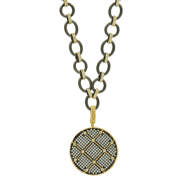 Signature Double Sided Pendant Chain Link Necklace