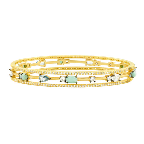 Touch of Turquoise 3 Stack Slide On Bangles
