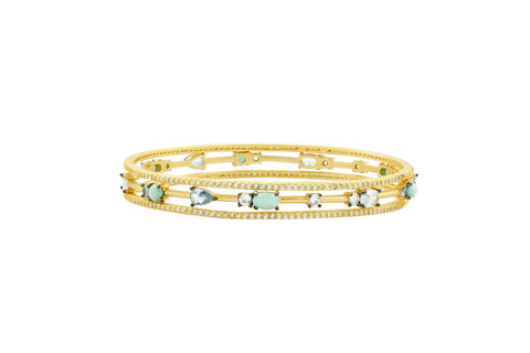 Touch of Turquoise 3 Stack Slide On Bangle