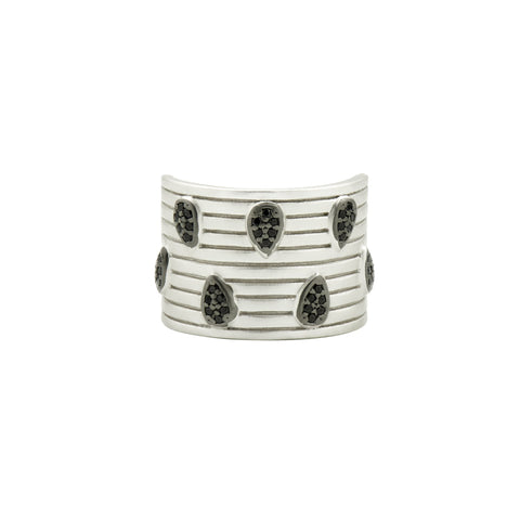 Teardrops of Pavé Cigar Band Ring