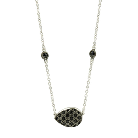 Black Pavé Teardrop Necklace