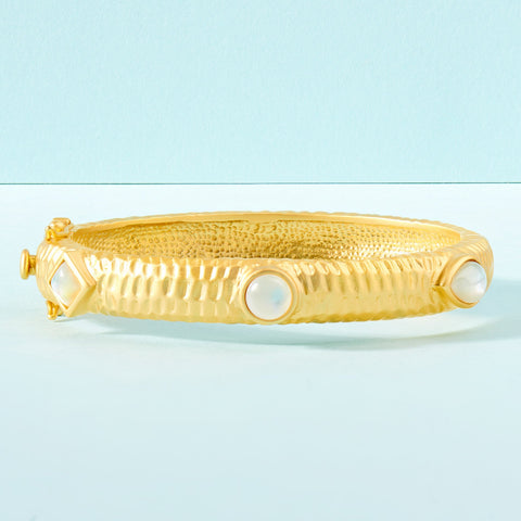 Multi-Shaped Stone Wide Hinge Bangle