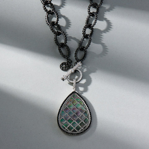 Double Sided Black Mother of Pearl Pendant Necklace