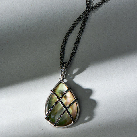 Grey Mother of Pearl Pavé Teardrop Pendant