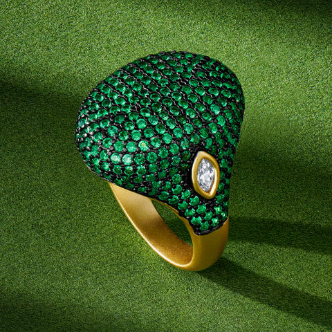 Midnight Emerald Pavé Cocktail Ring