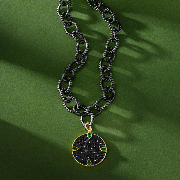 Double Sided Emerald Chain Link Necklace