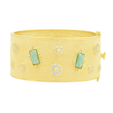 Amazonian Allure Large Stone Hinge Bangle - FREIDA ROTHMAN