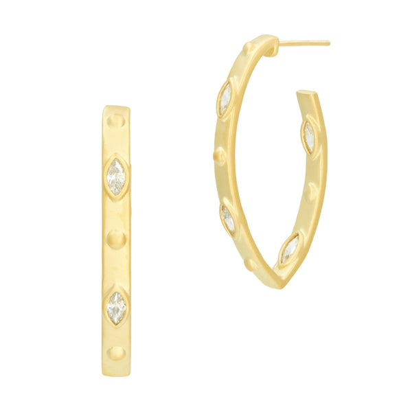 Amazonian Allure Pointed Hoop Earrings