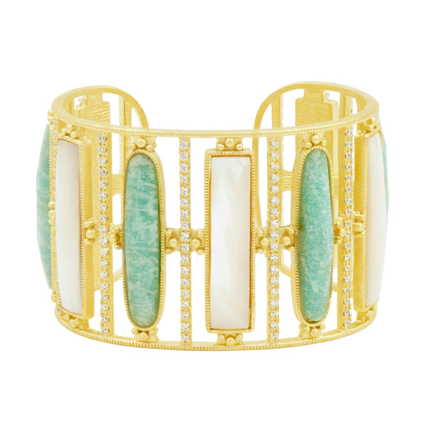 Amazonian Allure Multi Stone Wide Statement Cuff
