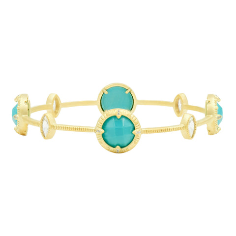 Amazonian Allure Turquoise Station Slide Bangle - FREIDA ROTHMAN