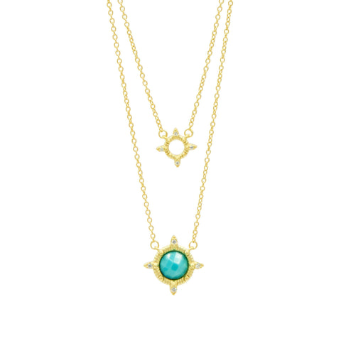 Amazonian Allure Turquoise Double Drop Necklace - FREIDA ROTHMAN