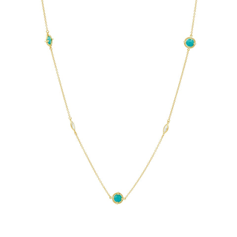 Amazonian Allure TQ Multi Stone Station Necklace