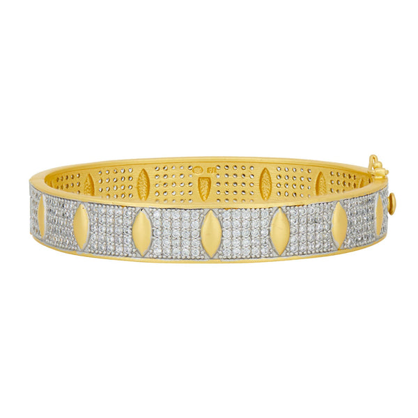Petals and Pavé Wide Hinge Bangle