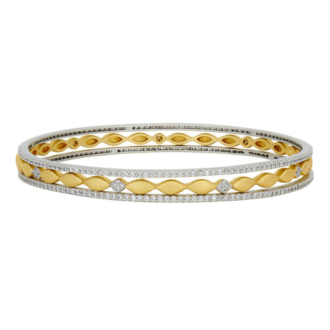 Petals and Pavé 3-Stack Slide On Bangles