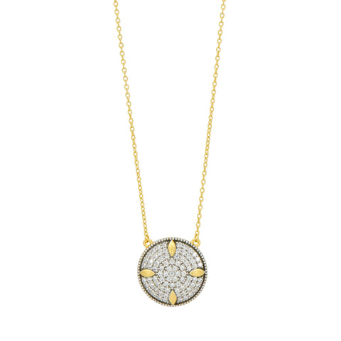Petals and Pavé Small Pendant Necklace