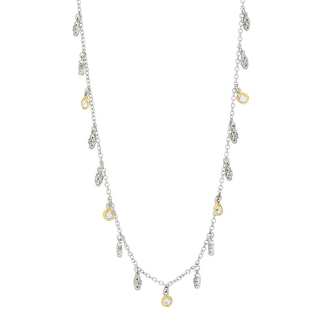 Petals and Pavé Long Chain Necklace