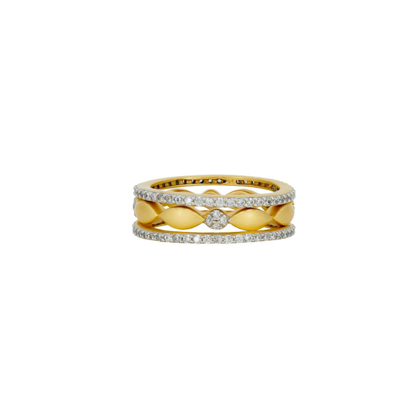 Petals and Pavé 3-Stack Ring