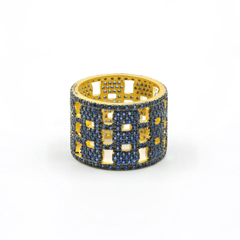 Baroque Blues Open Pavé Band Ring