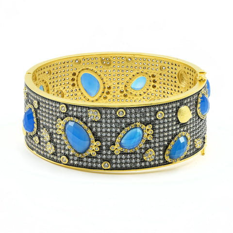 Baroque Blues Multi-Stone Large Bangle