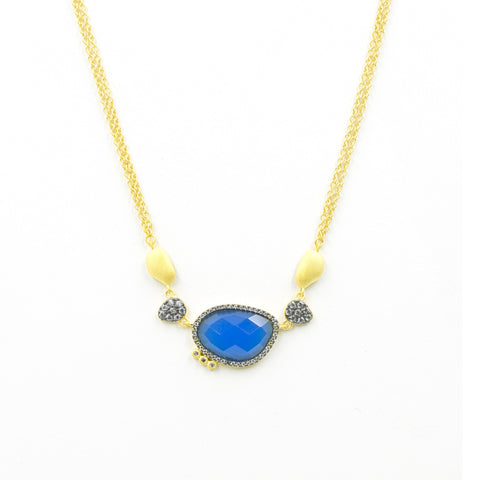 Baroque Blues Pendant Stone Necklace