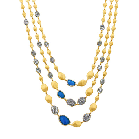 Baroque Blues Multi Drop Necklace