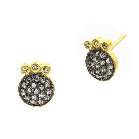 Baroque Blues Pavé Stud Earrings - FREIDA ROTHMAN