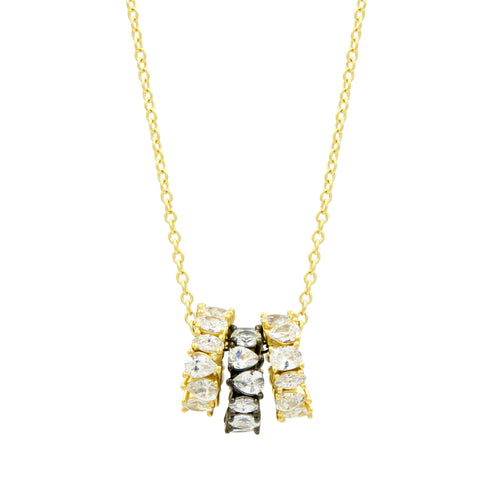 Midnight Two-tone 3-Ring Necklace