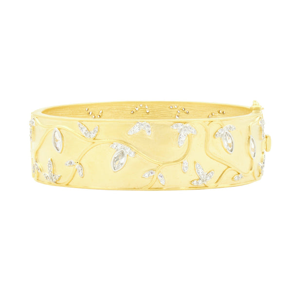 Fleur Bloom Wide Hinge Bangle - FREIDA ROTHMAN