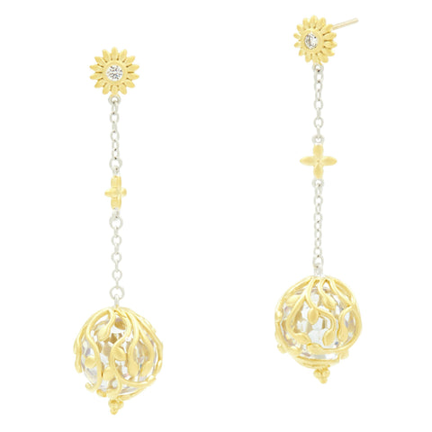 Fleur Bloom Texture Ball Drop Earrings - FREIDA ROTHMAN