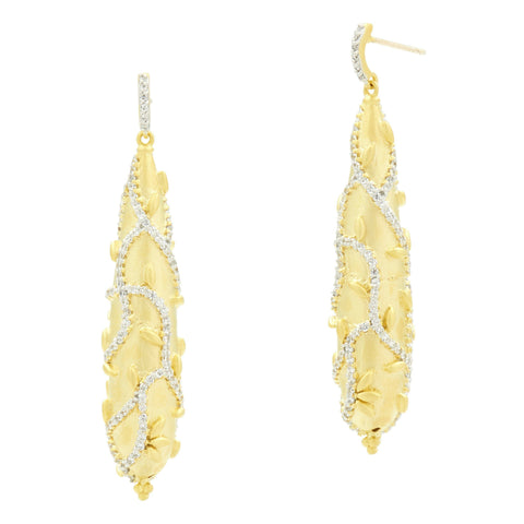 Fleur Bloom Textured Drop Earrings - FREIDA ROTHMAN