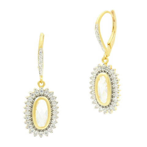 Fleur Bloom Textured Pendant Drop Earrings - FREIDA ROTHMAN