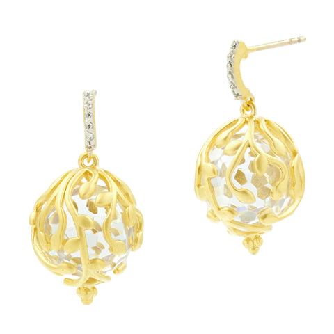 Fleur Bloom Textured Ball Drop Earrings - FREIDA ROTHMAN