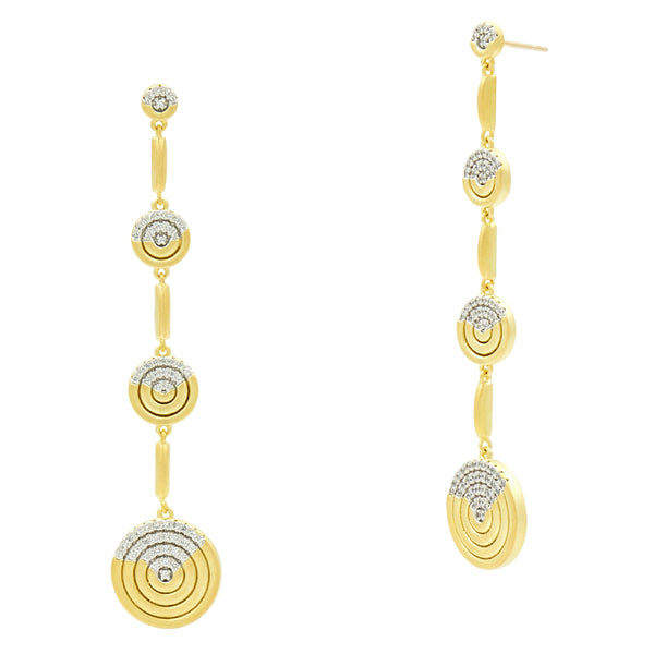 Fleur Bloom EMPIRE Circular Ring Gradual Drop Earrings