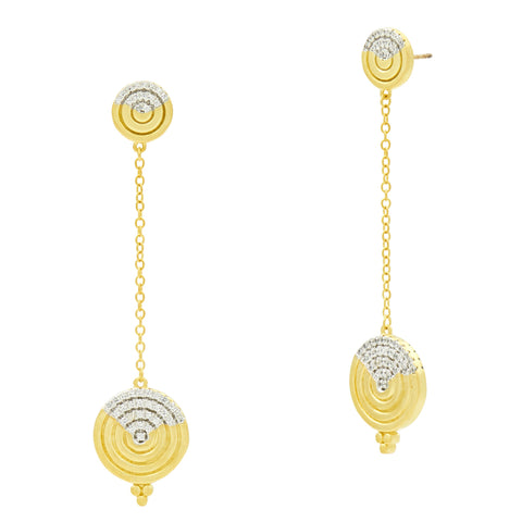 Fleur Bloom EMPIRE Circular Ring Long Drop Earrings