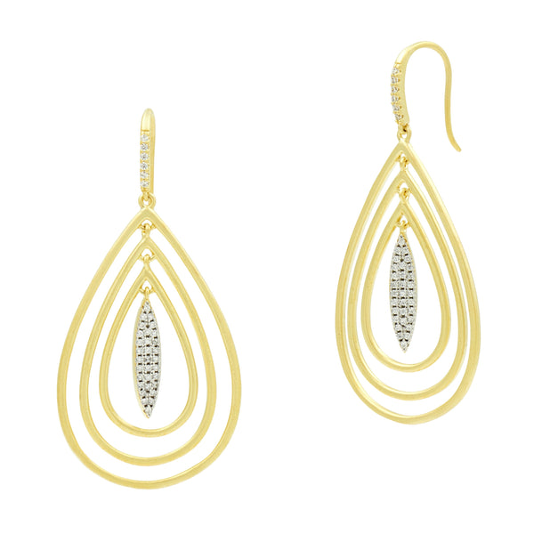 Fleur Bloom EMPIRE Tri-Teardrop Earrings