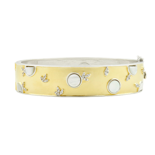 Fleur Bloom EMPIRE Mother of Pearl Wide Hinge Bangle