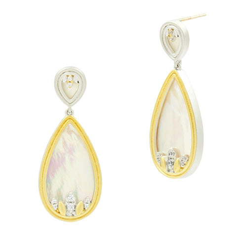 Fleur Bloom Mother of Pearl Teardrop Earrings