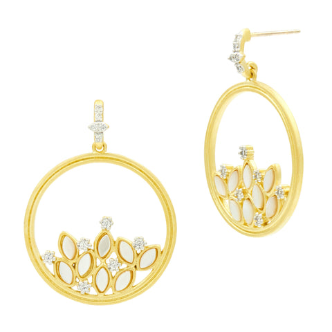 Fleur Bloom MOP Cluster Open Hoop Earrings