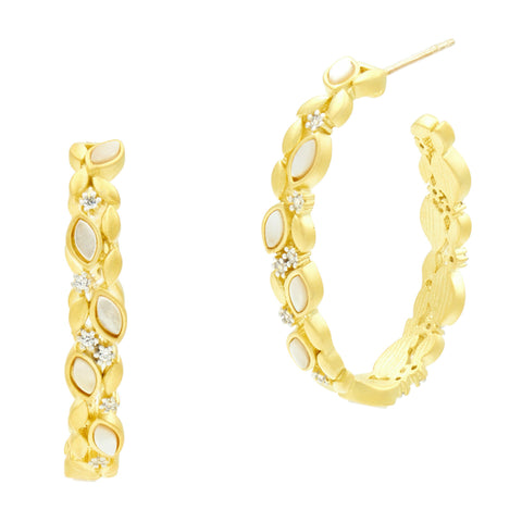 Fleur Bloom Mother of Pearl Embellished Hoop Earrings