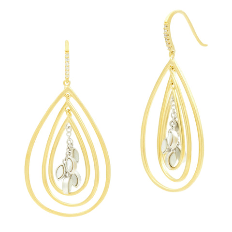 Fleur Bloom EMPIRE Mother of Pearl Tri-Teardrop Earrings