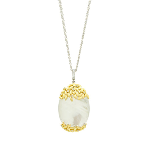 Fleur Bloom Mother of Pearl Oval Statement Pendant Necklace