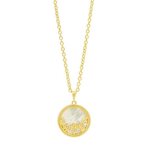 Fleur Bloom Mother of Pearl Round Pendant Long Necklace