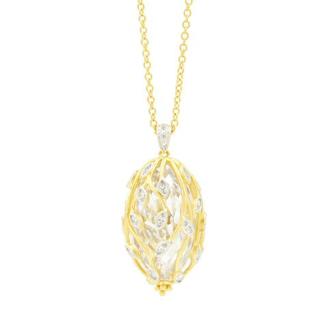 Fleur Bloom Textured Pendant Necklace - FREIDA ROTHMAN