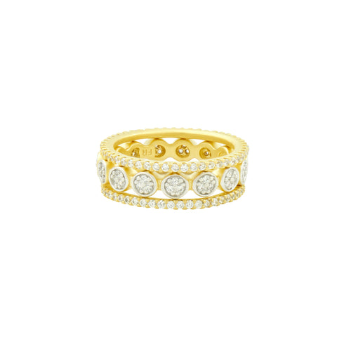 Fleur Bloom Pavé Disc 3-Stack Ring
