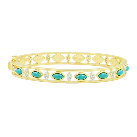 Fleur Bloom EMPIRE Turquoise Wide Hinge Bangle