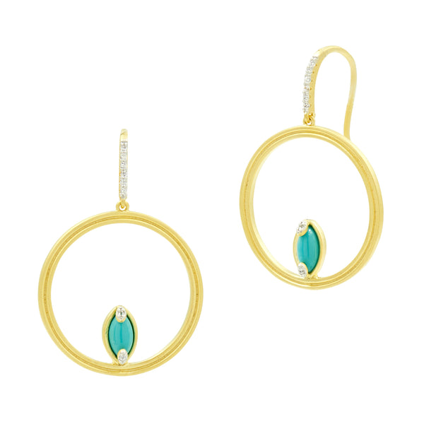 Fleur Bloom EMPIRE Turquoise Open Hoop Earrings