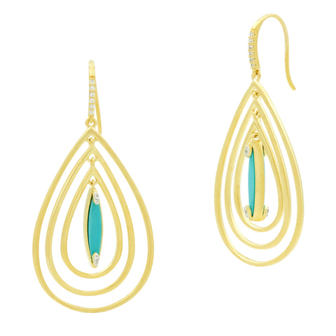 Fleur Bloom EMPIRE Turquoise Tri-Teardrop Earrings