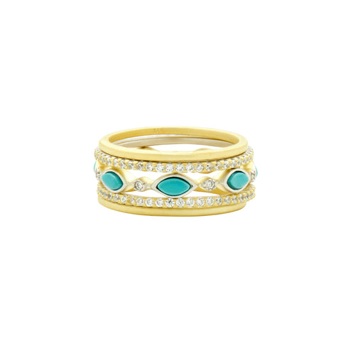 Fleur Bloom EMPIRE Turquoise Delicate 5-Stack Ring